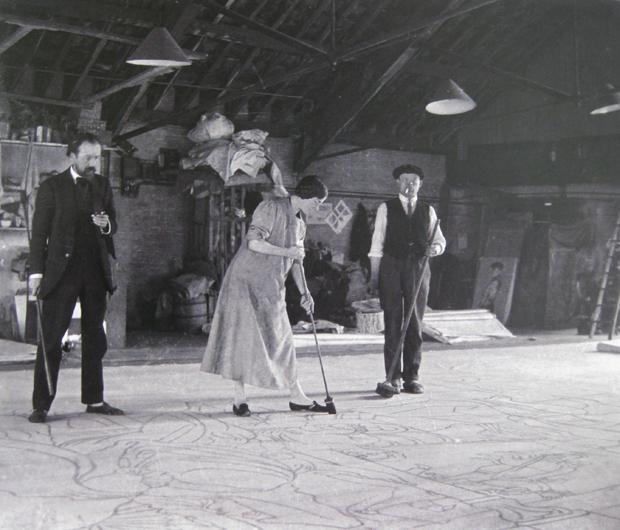 Vladimir & Elizabeth Polunin preparing stage designs for the Ballets Russe