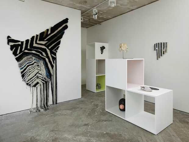 Zibra (left) (2011) installation view Arcade (London), handtufted wool
