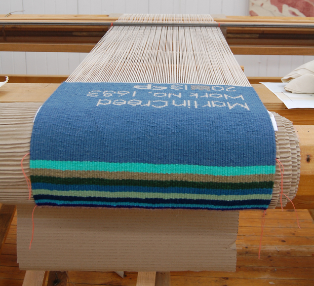 The completed tapestry on the loom in West Dean Tapestry Studio, 2013