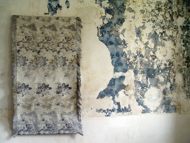 Ismini Samnidou - Wallflower (2008) Site-specific textile wallhanging inspired by an C18th wallpaper from Godolphin House, Cornwall, 90 x 180 cm