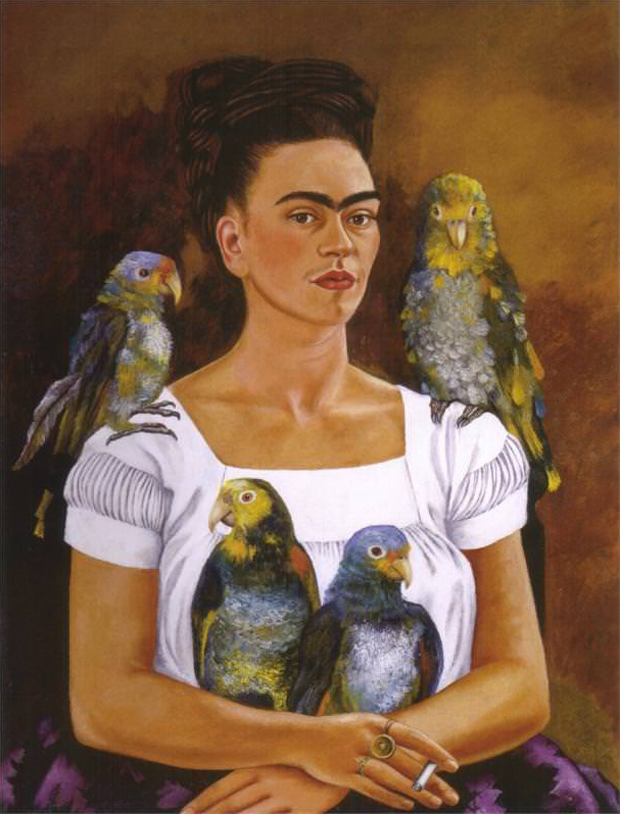 "Frida Kahlo - <em>Me and My Parrots</em> (1941) Oil on canvas 32 ¼"" x 24 ¾"" Collection of Mr. & Mrs. Harold H. Stream, New Orleans, Louisiana, U.S.A."