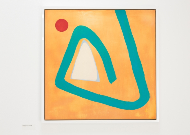 West Dean College MFA Summer Show. Freestroke with Red Sun and Triangle, oil on canvas by Alison Davies. Picture date: Friday July 3, 2015. Photograph by Christopher Ison © 07544044177 chris@christopherison.com www.christopherison.com
